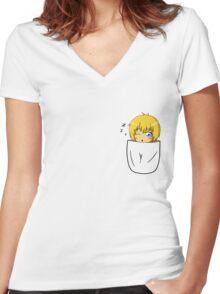 Armin Arlert Pocket Chibi Women's Fitted V-Neck T-Shirt