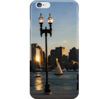 Sailing ship in front of the financial district iPhone Case/Skin