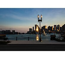 Sailing ship in front of the financial district Photographic Print