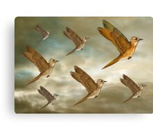 Flock of birds flying through the heavens Canvas Print