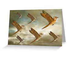Flock of birds flying through the heavens Greeting Card