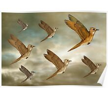 Flock of birds flying through the heavens Poster