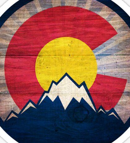 Colorado flag vintage wood mountains Sticker