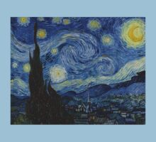 VINCENT, Starry Night, Vincent van Gogh, Art, Artist, 1889  One Piece - Short Sleeve