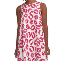Red lipstick imprints on white - pattern A-Line Dress