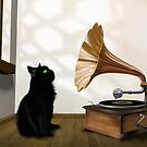 Cat with gramophone by Paul Fleet