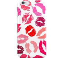 Colorful lipstick imprints on white - pattern iPhone Case/Skin