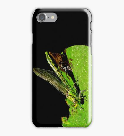 beauty emerges from the beast- green dragonfly iPhone Case/Skin