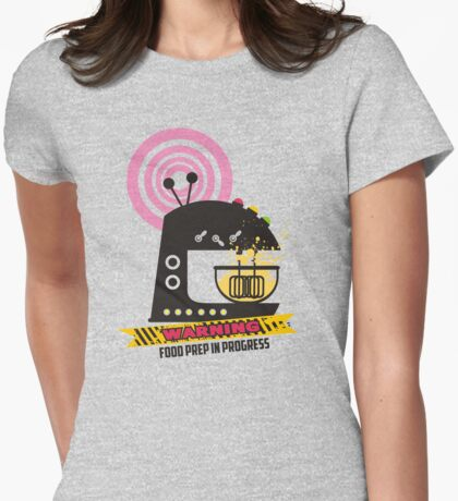 Sci fi baking stand mixer warning tape Womens Fitted T-Shirt