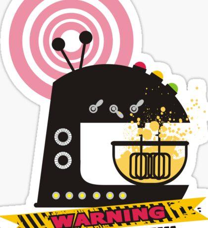 Sci fi baking stand mixer warning tape Sticker