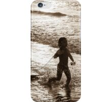 Little surfer girl runs in the waves iPhone Case/Skin