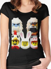 Cute Lego Animal heads Women's Fitted Scoop T-Shirt