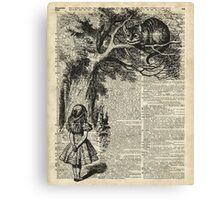 Alice With Cheshire Cat,Alice In Wonderland,Vintage Dictionary Art Canvas Print