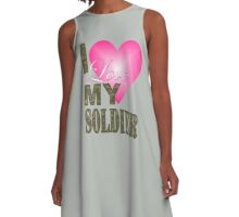 camo camouflage Valentine's Day I Love My Soldier A-Line Dress