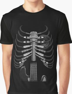 Guitar Skeleton Microphone Rock Music Lovers Funny Graphic T-Shirt