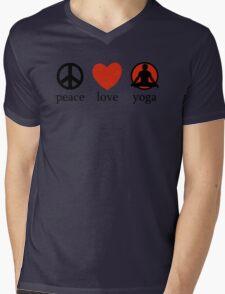 Peace Love Yoga T-Shirt Mens V-Neck T-Shirt