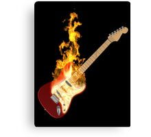 Guitar on Fire Canvas Print