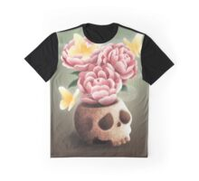 Mexican Skull Vase With Peonies and Butterflies Graphic T-Shirt