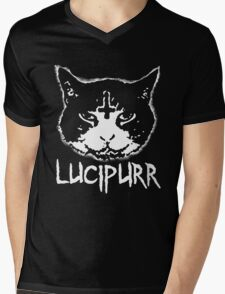 Lucipurr Satan Funny Cat Goth Mens V-Neck T-Shirt