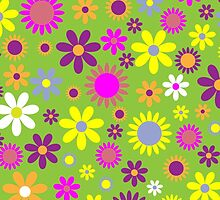 Blooming Flowers and Petals - Green Purple Pink by sitnica