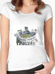 Yankee Stadium Grunge Logo Women's Fitted Scoop T-Shirt