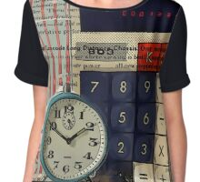 cool geeky nerdy alarm clock retro calculator  Chiffon Top