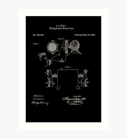 Alexander Bell Telephone Receiver Patent 1881 Art Print