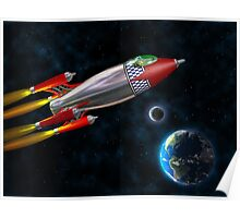 Retro rocket in space Poster