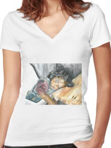 collapsed Women's Fitted V-Neck T-Shirt