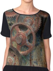 old industrial gears Chiffon Top