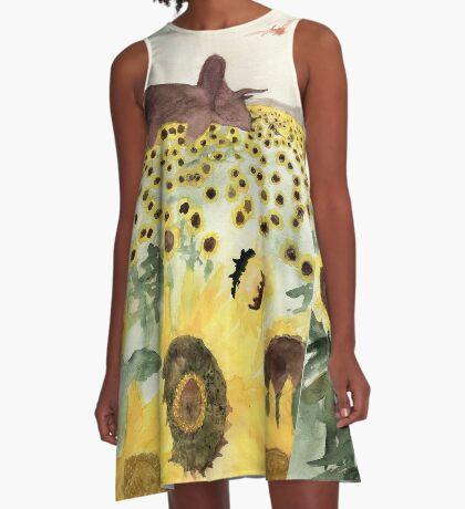 Cretaceous Period Sunflower Field A-Line Dress