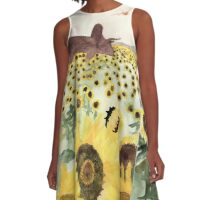 Cretaceous Period Sunflower Field A-Line Dress