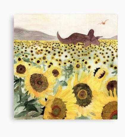 Cretaceous Period Sunflower Field Canvas Print