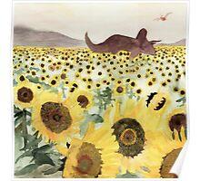 Cretaceous Period Sunflower Field Poster