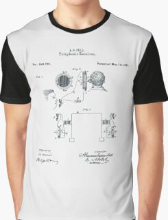 Alexander Bell Telephone Receiver Patent 1881 Graphic T-Shirt