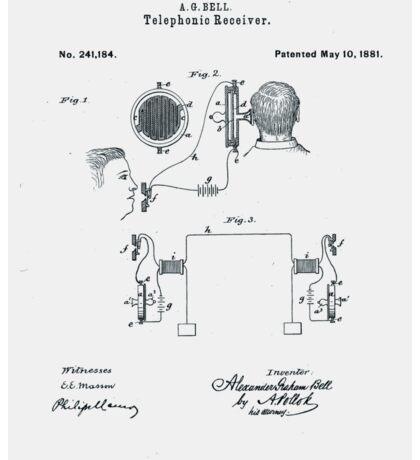 Alexander Bell Telephone Receiver Patent 1881 Sticker