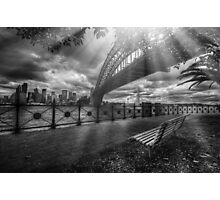 Sun rays by the bridge Photographic Print