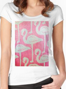 flamingo PINK  Women's Fitted Scoop T-Shirt