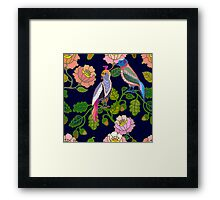 Paradize birds. Kimono motifs. Framed Print