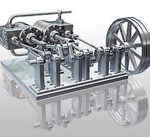 Twin cylinder steam engine by Paul Fleet