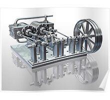 Twin cylinder steam engine Poster