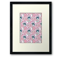 Tiny Elephants in Fields of Flowers Framed Print