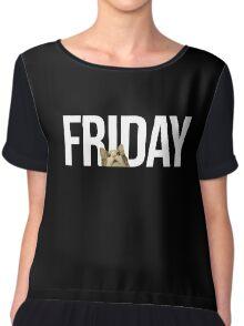 Friday cat - version 2 - white Chiffon Top