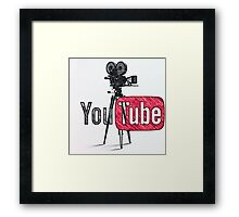 Youtube With Old Camera Drawing Framed Print