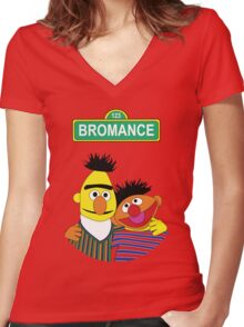 The Bromance of Ernie & Bert Women's Fitted V-Neck T-Shirt