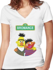 The Bromance of Ernie & Bert Women's Fitted V-Neck T-Shirt