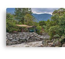 Pastaza River and Leafy Mountains in Banos Ecuador Canvas Print