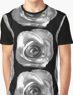 White Rose on Black (patterned) Graphic T-Shirt