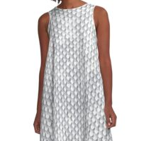 White Ice Dragon Scales A-Line Dress