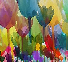 Tulip Flowers, Stems - Blue Red Green Yellow by sitnica
